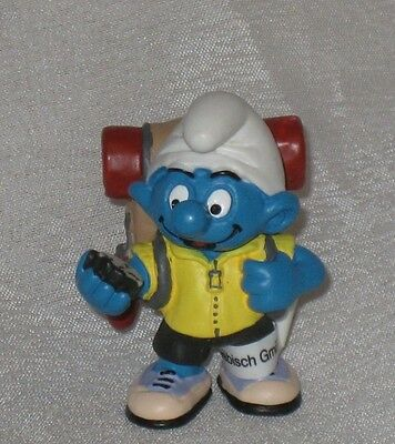 Smurf Figurine - Hiker with back pack and compass -New with tag