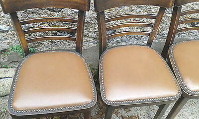 "RETRO SET 5 CAFE BENTWOOD CHAIRS.Made Poland.Wipe Clean Seats.tall 32"".c1970 s"