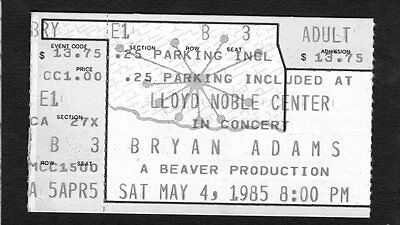 1985 Bryan Adams Survivor Autograph concert ticket stub Norman OK Reckless Tour
