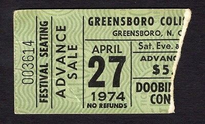 1974 Doobie Brothers concert ticket stub Greensboro NC Vices Habits Black Water