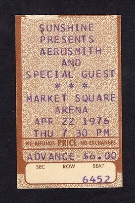 1976 Aerosmith Thin Lizzy concert ticket stub Rocks Tour Indianapolis IN