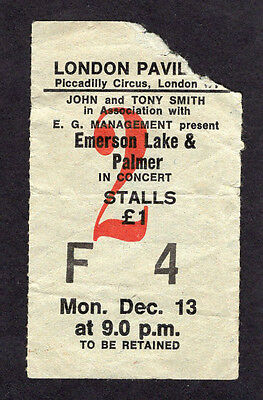 1971 Emerson Lake & Palmer concert ticket stub Tarkus  Piccadilly London UK