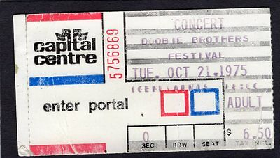 1975 Doobie Brothers concert ticket stub Capital Centre Landover MD Stampede