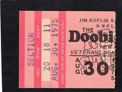 1975 Doobie Brothers concert ticket stub New Haven CT Stampede
