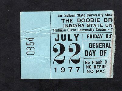 1977 Doobie Brothers Concert Ticket Stub Indiana State Livin' on the Fault Line