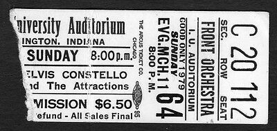 Original 1979 Elvis Costello concert ticket stub Bloomington IN Armed Forces