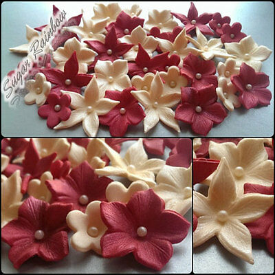 30 Edible Sugar Paste Flowers Cake Cupcake Toppers Decorations Cherry/ivory