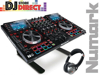 NUMARK NVII PRO 4 channel Deck DJ Serato Controller + LAPTOP STAND & HEADPHONES