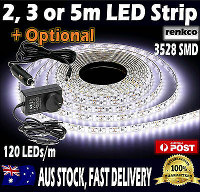 2m, 3m or 5m Led Strip Lights Cool White Waterproof Flexible 12V 3528 SMD