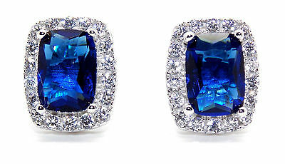 Sterling Silver Blue Sapphire And Diamond 4.76ct Emerald Cut Earring (925)