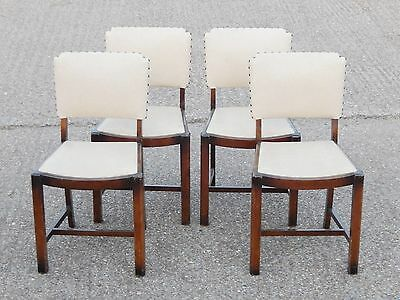 Set of 4x antique solid oak / beech dining chairs with faux leather vinyl seats