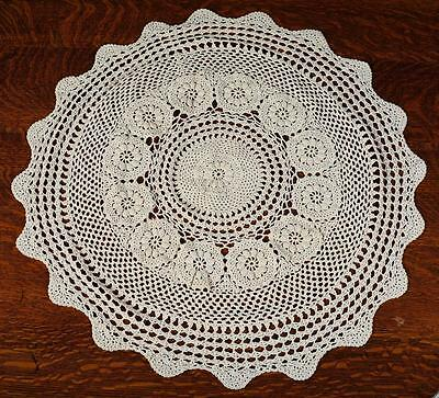 """Vintage Round Crocheted Table Cloth - Beige  Approx. 31"""" Diameter"""