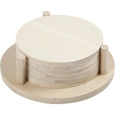 Plain Coasters Set - Round Wood x 6 With Coaster Holder - Paint Decorate Craft