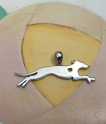 Italian Greyhound w/Heart Cutout Sterling Silver Charm - New - FREE SHIPPING