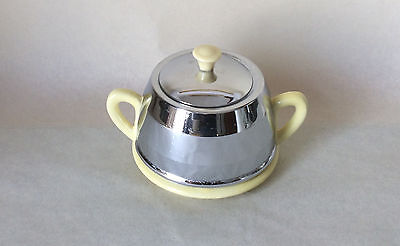Vintage Sugar Bowl, Yellow ceramic, Chrome cover. Beehive, Everhot Style