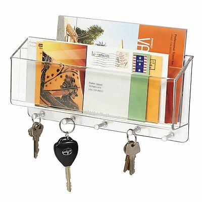 Divided Mail Organizer and Key Hooks for Office, Kitchen, Entryway - Wall Mount