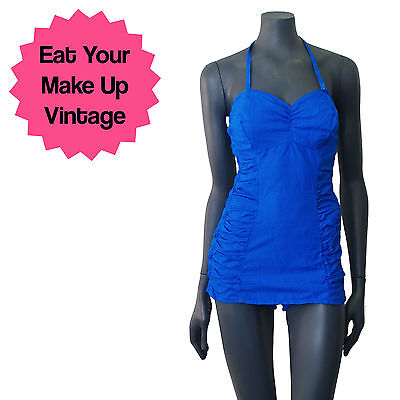 Vintage 50s 60s Blue Cotton Ruched Halterneck Skirted Swimsuit Costume 10 B Cup