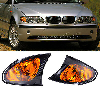 2 For BMW 02-05 E46 3-SERIES 4 Door Sedan Corner Turn Signal Lights Yellow Lens