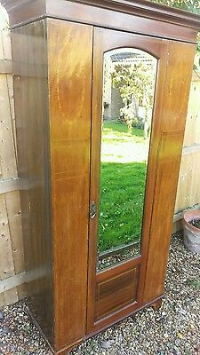 pretty antique,edwardian single wardrobe with mirrored door