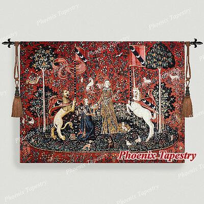"The Lady & Unicorn Medieval Fine Art Tapestry Wall Hanging - TASTE, 55""x41"", UK"