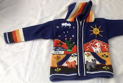Hand knitted Alpaca Wool Children Sweater with 3D designs
