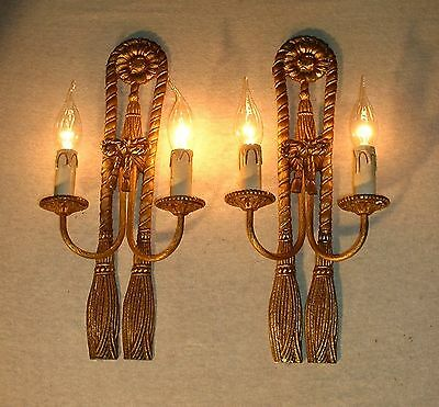 "Vintage large (16 ½"" tall) French bronze sconce curtain rope design"