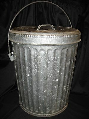 Classic Vintage 10 Gal. Galvanized Metal Trash Can With Lid & Handle Garden Pail