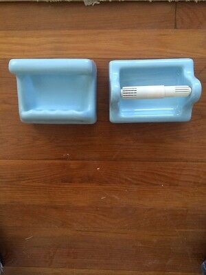 "Vintage Blue Tile Wall Mount Soap Dish And Toilet Paper Holder. ""Used"""