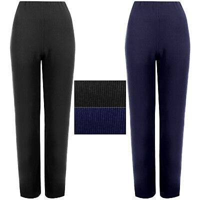 Ladies Straight Leg Trousers Women Ribbed Stretch Soft Pull On Bottom Pants 8-26