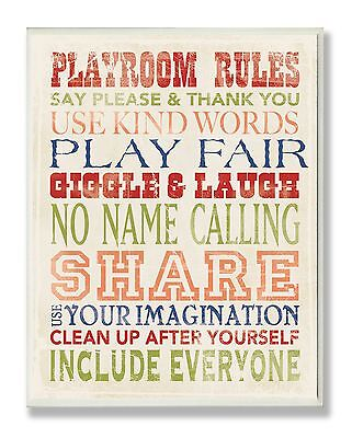 Stupell Industries The Kids Room Wall Decor, Playroom Rules Typography
