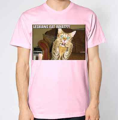 Lesbians Eat What Cat Humour Funny Hilarious Top Kitten Gay Tee New T-Shirt