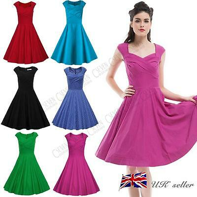 Womens Ladies 1950s Vintage Dress Rockabilly Retro Party Swing Skater Cap Sleeve