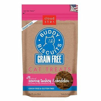 Cloud Star BUDDY BISCUITS Grain Free Savory Turkey and Cheddar For Cats 3 oz