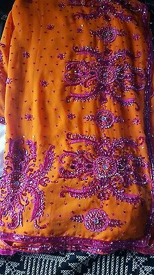 Indian bollywood partywear mendhi ethnic wedding saree with readymade blouse