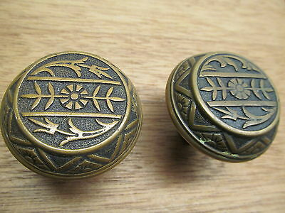 Old Pair Heavy Brass ?eastlake ? Brass ?? Bronze? Door Knob Ornate Detail