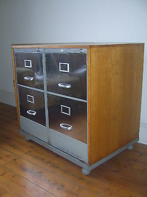 S Rare Vintage Mid Century Industrial Metal and Wood Twin Filing Cabinet Deco