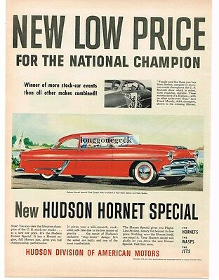 1954 Hudson HORNET Special Club Coupe 2-door Lipstick Red art Vtg Print Ad