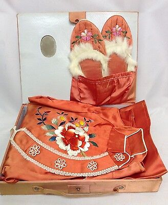 40s Original 'WW11 Oriental Boxed Lingerie Set'. Vibrant Embroidered Red Satin.