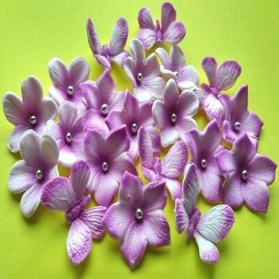18 Edible Sugar Paste Flowers Butterflies Cake Toppers Pink/silver (Airbrushed)