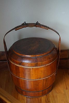 Antique Large Carved Wood Wedding Basket Brass 2 Tier Chinese 21""