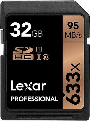 Lexar Professional 633x 32GB SDHC UHS-I Card w/Image Rescue 5 Software - LSD32GC
