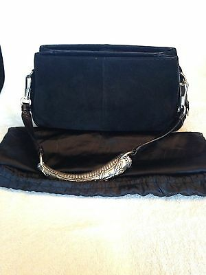 Authentic Yves Saint Laurent Black Suede   Leather Horn Handle Shoulder Bag eb7d7fccc96ce