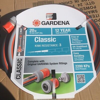 Gardena Classic Water Hose 20m x 19mm with fittings MADE IN ITALY RRP $149