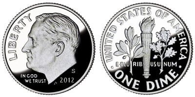 (2012-S 10C Silver (Proof) Roosevelt Dime Scarce Key Date Low Mintage