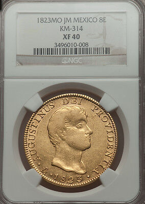 RARE!  Gold Coin 8 Escudos Iturbide from Mexico 1823 NGC XF40