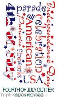 Rub On Transfers 4th OF JULY AMERICAN Words Acid Free Card Making ROY843G