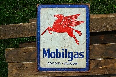 Mobilgas Pegasus Tin Metal Sign - Mobil Oil - Socony-Vacuum Oil Company - Gas