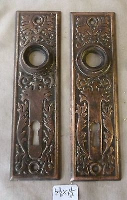 "Door knob back plates (pair) Eastlake OLD PATINA BRASS 5 3/8"" x 1 1/2"" (per ea)"