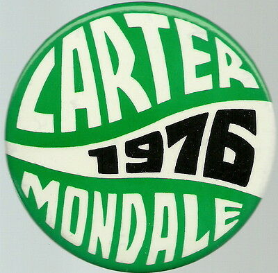 Carter, Mondale 1976 Unusual Lettering, Large Political Pin