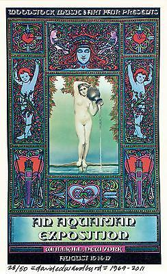 Woodstock 1969 banned Wallkill Handbill Signed Numbered by David Byrd Poster COA
